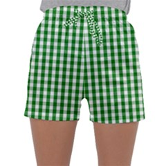 Christmas Green Velvet Large Gingham Check Plaid Pattern Sleepwear Shorts