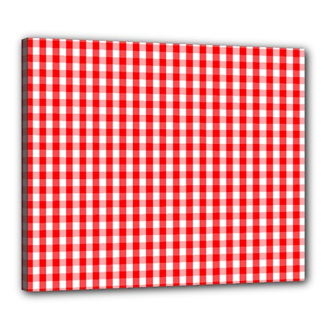 Christmas Red Velvet Large Gingham Check Plaid Pattern Canvas 24  X 20  by PodArtist