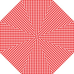 Christmas Red Velvet Large Gingham Check Plaid Pattern Straight Umbrellas by PodArtist