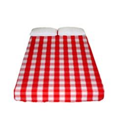 Christmas Red Velvet Large Gingham Check Plaid Pattern Fitted Sheet (full/ Double Size) by PodArtist
