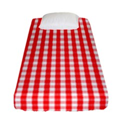 Christmas Red Velvet Large Gingham Check Plaid Pattern Fitted Sheet (single Size) by PodArtist