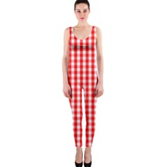 Christmas Red Velvet Large Gingham Check Plaid Pattern Onepiece Catsuit