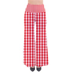 Christmas Red Velvet Large Gingham Check Plaid Pattern Pants by PodArtist