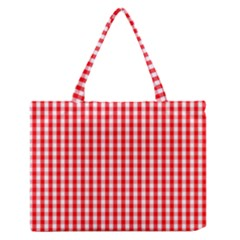 Christmas Red Velvet Large Gingham Check Plaid Pattern Medium Zipper Tote Bag by PodArtist