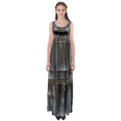 Alpine Hut Almhof Old Wood Grain Empire Waist Maxi Dress