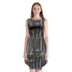 Alpine Hut Almhof Old Wood Grain Sleeveless Chiffon Dress