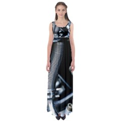 Motorcycle Details Empire Waist Maxi Dress