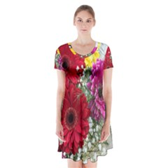 Flowers Gerbera Floral Spring Short Sleeve V Neck Flare Dress