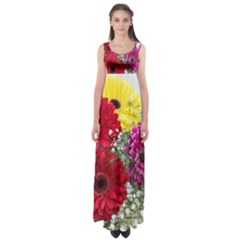 Flowers Gerbera Floral Spring Empire Waist Maxi Dress