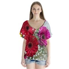Flowers Gerbera Floral Spring Flutter Sleeve Top