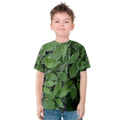 Texture Leaves Light Sun Green Kids  Cotton Tee