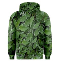 Texture Leaves Light Sun Green Men s Zipper Hoodie