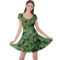 Texture Leaves Light Sun Green Cap Sleeve Dresses
