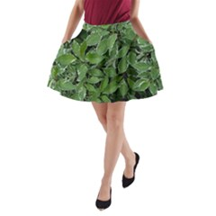 Texture Leaves Light Sun Green A Line Pocket Skirt by BangZart