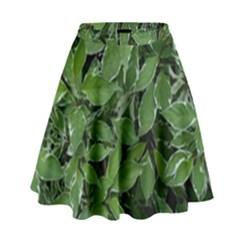 Texture Leaves Light Sun Green High Waist Skirt