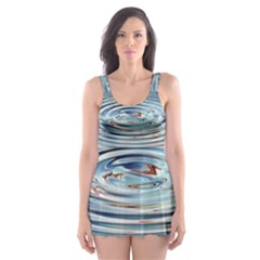 Wave Concentric Waves Circles Water Skater Dress Swimsuit