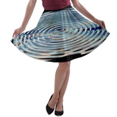 Wave Concentric Waves Circles Water A Line Skater Skirt