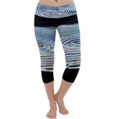 Wave Concentric Waves Circles Water Capri Yoga Leggings
