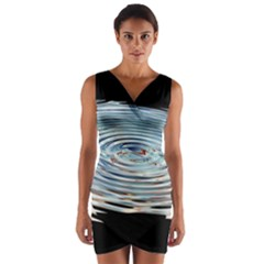 Wave Concentric Waves Circles Water Wrap Front Bodycon Dress