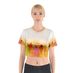 Autumn Leaves Colorful Fall Foliage Cotton Crop Top
