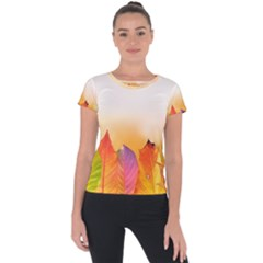 Autumn Leaves Colorful Fall Foliage Short Sleeve Sports Top