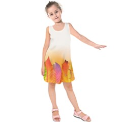 Autumn Leaves Colorful Fall Foliage Kids  Sleeveless Dress