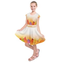 Autumn Leaves Colorful Fall Foliage Kids  Short Sleeve Dress