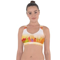 Autumn Leaves Colorful Fall Foliage Cross String Back Sports Bra
