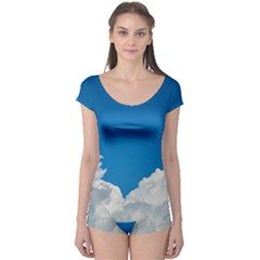 Sky Clouds Blue White Weather Air Boyleg Leotard