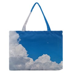 Sky Clouds Blue White Weather Air Medium Zipper Tote Bag