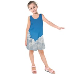 Sky Clouds Blue White Weather Air Kids  Sleeveless Dress
