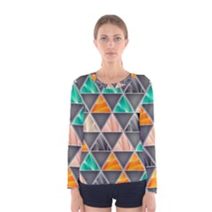 Abstract Geometric Triangle Shape Women s Long Sleeve Tee