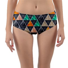 Abstract Geometric Triangle Shape Reversible Mid Waist Bikini Bottoms by BangZart