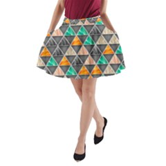 Abstract Geometric Triangle Shape A Line Pocket Skirt