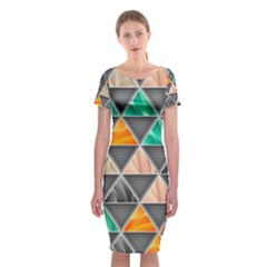 Abstract Geometric Triangle Shape Classic Short Sleeve Midi Dress