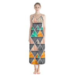 Abstract Geometric Triangle Shape Button Up Chiffon Maxi Dress