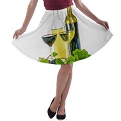 White Wine Red Wine The Bottle A Line Skater Skirt by BangZart