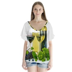 White Wine Red Wine The Bottle Flutter Sleeve Top