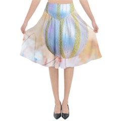 Sphere Tree White Gold Silver Flared Midi Skirt