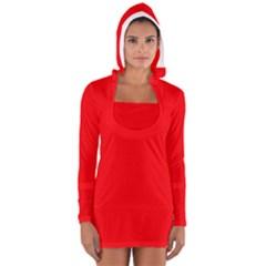 Solid Christmas Red Velvet Women s Long Sleeve Hooded T-shirt
