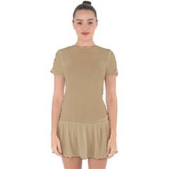 Solid Christmas Gold Drop Hem Mini Chiffon Dress