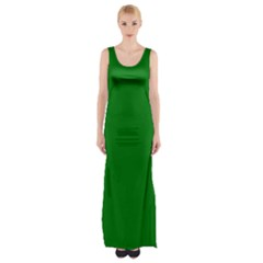Solid Christmas Green Velvet Classic Colors Maxi Thigh Split Dress