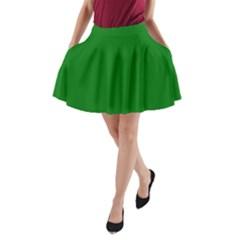 Solid Christmas Green Velvet Classic Colors A Line Pocket Skirt by PodArtist