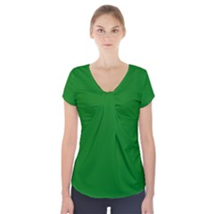 Solid Christmas Green Velvet Classic Colors Short Sleeve Front Detail Top by PodArtist