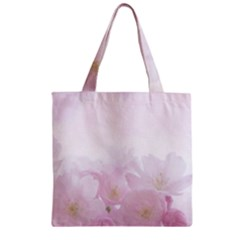 Pink Blossom Bloom Spring Romantic Zipper Grocery Tote Bag