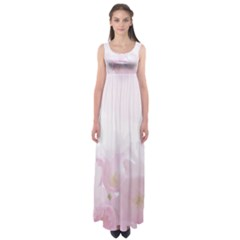 Pink Blossom Bloom Spring Romantic Empire Waist Maxi Dress