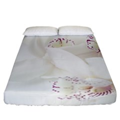 Orchids Flowers White Background Fitted Sheet (california King Size)