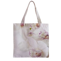 Orchids Flowers White Background Zipper Grocery Tote Bag