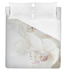 Orchids Flowers White Background Duvet Cover (queen Size)