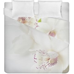 Orchids Flowers White Background Duvet Cover Double Side (king Size) by BangZart